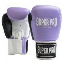 Paarse Super Pro Combat Gear Super Pro Lederen (thai)bokshandschoenen Enforcer Lila/Zwart/Wit 14oz