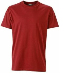 James & Nicholson Fusible Systems - Heren James and Nicholson Workwear T-Shirt (Donkerrood)