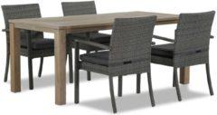 Antraciet-grijze Domani Furniture Domani Solarino/Bristol 180 cm dining tuinset 5-delig stapelbaar