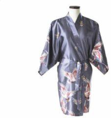 TA-HWA Korte Kimono met Kraanvogels Zilver Dames Nachtmode kimono L