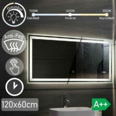 Aquamarin LED Badkamer spiegel 120x 60 cm, digitale klok, dimbaar, anticondensfunctie