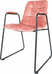 Roze Home67 Eetkamerstoel Maxime - Velvet - Pink - Armleuning - Kuipstoel - Kleur
