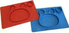 TOOBS Handige siliconen bordjes met beer motief Rood en Blauw | Kinderservies |Babybordje | Kinderbordje | Rood en Blauw | 2 stuks Motief Beer