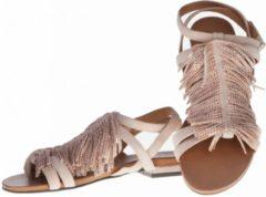 Roze La Femme Plus - sandalen - maat 36 - dames - fringes met steentjes