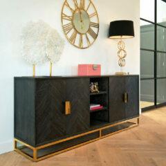 Richmond Interiors Richmond Dressoir 'Blackbone' Eiken, kleur Zwart / Goud, 225cm