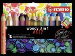 STABILO Woody kleurpotloden - ARTY etui met 10 kleuren + puntenslijper