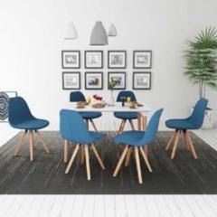 VidaXL Eetkamerset 7-delig wit en blauw