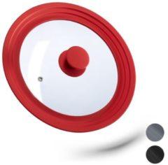 Relaxdays glazen deksel - universeel - pannendeksel - met siliconen rand - voor pannen rood