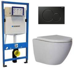 Douche Concurrent Geberit UP 320 Toiletset - Inbouw WC Hangtoilet Wandcloset - Shorty Sigma-01 Zwart