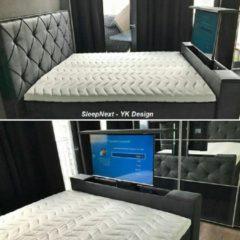 Antraciet-grijze SleepNext HQ - YK Design SleepNext HQ - Luxe Boxspring met TV Lift - YK Design - Relax antracite 180x200cm