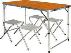 Bruine AMANKA Inklapbare, in hoogte verstelbare campingtafel 120x60x70cm met 4 inklapbare krukken