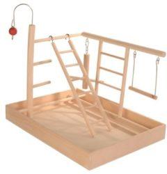 Bruine Trixie speelplaats hout voor kanarie en parkiet 35x25x27 cm