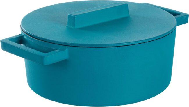 Afbeelding van Blauwe Sambonet Terra.cotto Braadpan - Incl. Deksel - ø 24 X 11,5 Cm - Anise