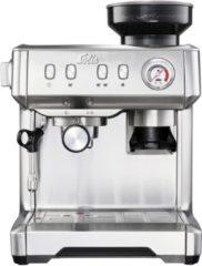 Roestvrijstalen Solis Grind & Infuse Compact 1018 Koffiemachine met Bonen - RVS Pistonmachine Koffie - Grijs