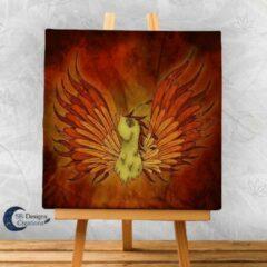 Rode Canvas Artprint Feniks Magische Wezens Fantasy