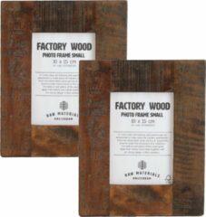 Bruine Raw Materials Factory Fotolijst - 20x25cm - Set van 2 - Gerecycled hout