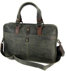 "BARBAROSSA Used look leren 13"" laptoptas business tas werktas RUVIDO Military"