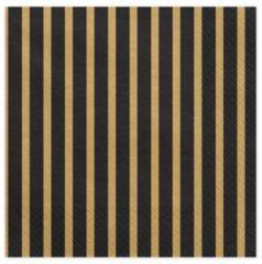 PartyDeco Servetten Stripes, 33x33cm, goud (1 zakje met 20 stuks)