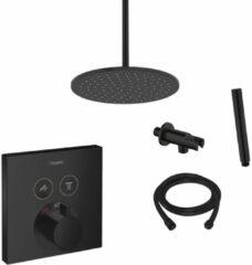 Hansgrohe + Saniclear Hansgrohe Shower Select inbouw douchekraan met Saniclear Nero 30cm douchekop en plafondarm regendouche zwart