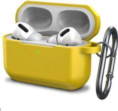 YONO Airpods Pro Case - Siliconen Hoesje met Clip – Geel