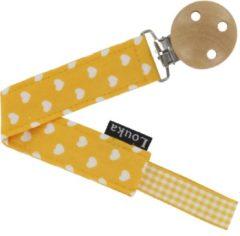 Louka speenkoord hartjes geel de luxe - houten clip