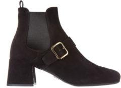 Nero Prada Stivaletti stivali donna con tacco camoscio