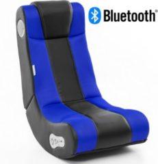 Wohnling ® Soundchair InGamer in Schwarz Blau mit Bluetooth Musiksessel mit eingebauten Lautsprechern Multimediasessel für Gamer 2.1 Soundsystem