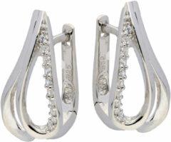 Elegance Zilveren Oorbellen klapcreolen met zirconia 107.6150.00