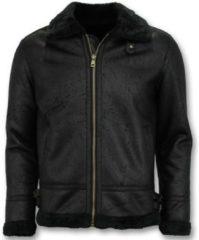 Blauwe Leren Jas Tony Backer Shearling Jacket Lammy Coat
