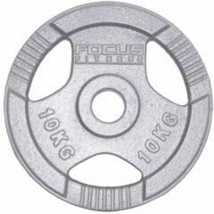 Grijze Halterschijf 30 mm Focus Fitness Hamerton - 1 x 10 kg