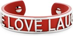 Rode Key Moments 8KM-B00481 - Stalen open bangle met tekst - live love laugh - one-size - rood