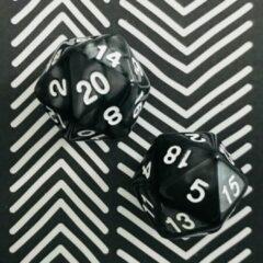 Witte Merkloos / Sans marque Spel   20-kantige Dobbelstenen   2x   Zwart   Optellen en Aftrekken