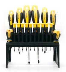 Schroevendraaierset 18 delig met standaard profiel - kruiskop / platkop - magnetische schroevendraaiers