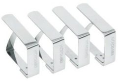 Zilveren Merkloos / Sans marque Tafelkleed klemmen - Set van 4 - RVS