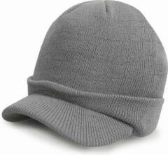Result Trendy warme wintermuts met visor klep in het lichtgrijs voor volwassenen - Damesmutsen / herenmutsen - 100% polyacryl