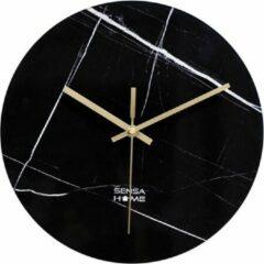 Zwarte SensaHome Glazen Wandklok 30cm - Minimalistische Marmeren Design met Stille uurwerk - Marble Dark