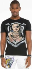 Zwarte Cipo & Baxx Heren T-shirt Maat S