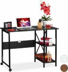 Relaxdays bureau klapbaar - computertafel - opbergrek - vouwbaar - 2 vakken Zwart / zwart