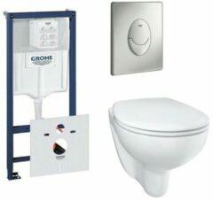 Grohe Bau keramiek toiletset met rimless en diepspoel inclusief inbouwreservoir en bedieningspaneel wit SW205846/0729121/0729205