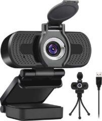 Zwarte Y&M Professionele Webcam HD 1080P Inclusief cover en Statief -verstelbare lensring -voor PC met Ingebouwde Microfoon - werk- vergadering- lees geven -YouTube- gamen