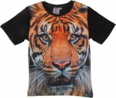Merkloos / Sans marque Zwart t-shirt met tijger voor kinderen 116 (6-7 jaar)