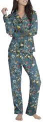 Blumen-Pyjama, durchgeknöpft Essenza petrol