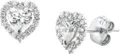 Goudkleurige The Jewelry Collection Oorknoppen Hart Zirkonia - Witgoud
