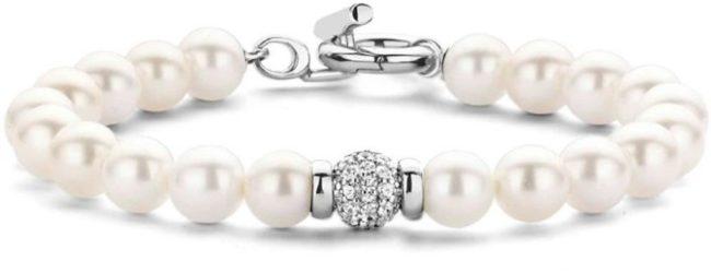 Afbeelding van Ti Sento Milano Ti Sento 2808PW Parel armband met zilver slot en zirkonia bal