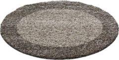 Adana Carpets Rond Hoogpolig vloerkleed - Edge Taupe Ø 200cm