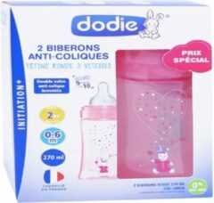 DODIE Lot van 2 anti-koliek flessen Initiation + - 270ml - ROSE UNICORNE - 0-6 maanden - ronde spenen 3 snelheden stroom 2