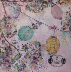 Sostrene grene Søstre Grene Servetten - Colourful Lanterns pink - 33 x 33