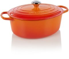Rode Le Creuset Gietijzeren ovale braadpan in Oranje-rood 31cm 6,3l