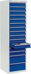Stumpf Metall Stumpf® STS 410 Schubladenschrank mit 15 Schubladen, lichtgrau / blau - 180 x 50 x 50 cm