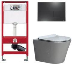 Douche Concurrent Tece Toiletset - Inbouw WC Hangtoilet wandcloset - Saturna Flatline Tece Square Mat Zwart